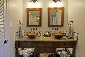 bathroom wood vanity. rustic master bath wood vanity vessel sinks mosaic backsplash wallmounted faucet (7) bathroom e