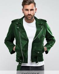 details of highstreet green faux leather jacket for men