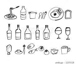 様々な食べ物飲み物の手書きイラストのイラスト素材 1235518 Pixta