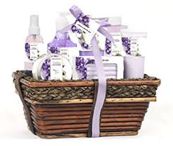green canyon spa luxury wicker basket gift set in lavender 8 pieces premium bath and