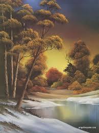 bob ross autumn paintings golden sunset jpg