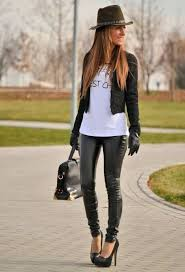 black leather pants with pumps short jacket t shirt hat