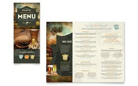 Take Out Menu Template Brewery Brew Pub Take Out Brochure Template Word Publisher