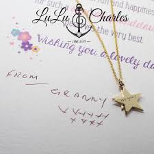 handmade 9ct gold star necklace laser engraved with