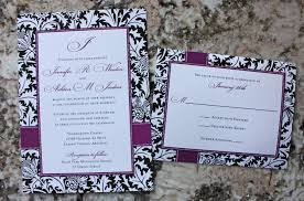 Black And Purple Invitations Black White Purple Damask Dots Monogram Wedding