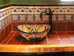mexican tile terranean bathroom