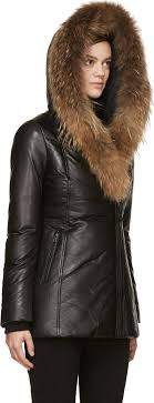 norway lyst mackage black leather down ingrid coat in black a4097 f7b2c