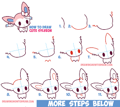 how to draw cute chibi kawaii sylveon from pokemon in easy step by step drawing tutorial