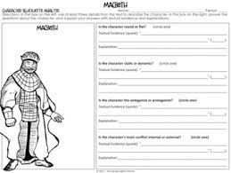 Macbeth Character Analysis Graphic Organizers William Shakespeare