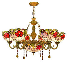 Magnolia Home Lighting Fixtures Mediterranean Tiffany Style Chandelier Stained Glass