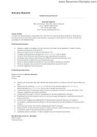 Sample Actuary Resume Vitadance Me