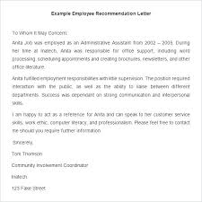 Sample Employment Letters Of Recommendation Letter Of Employment Recommendation Job Reference Letter Template