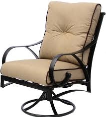 newport cast aluminum outdoor patio swivel rocker chair with sunbrella sesame linen cushion antique bronze
