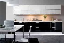 Awesome Black And White Kitchen Idea With Glossy Modular Design