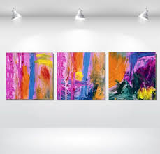 3 piece acrylic painting on canvas pink trio free by noapaintings 299 00