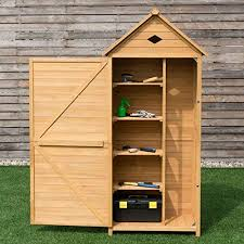 costway wooden garden shed with slope
