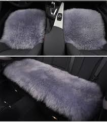 3pcs set gray car seatcover sheepskin wool car sofa chair cushion universal fit