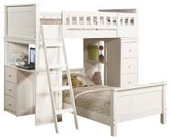 Safe Functional White Youth Twin Storage Loft Bunk Bed Drawers Study Desk  Hutch contemporary-bunk