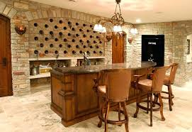 Home Bar Ideas Basement Home Bar In Basement With Stone Wine Storage