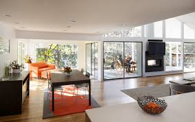 indoor outdoor fireplace dining room midcentury with 1950s 1960s colorado custom image by design platform