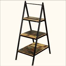 Wooden Ladder Display Stand Masculine Rustic Ladder Shelf From Black Metal Frame And Wood 88