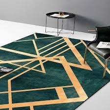 Dark Vs Light Carpet Retro Light Luxury Dark Green Gold Line Door Mat Digital Printing Crystal Fleece Non Slip Bedside Kitchen Living Room Carpet