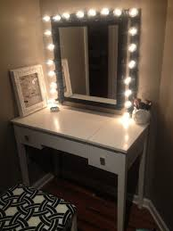 Bathroom White Wooden Dresser Table With Lighted Mirror Plus White Swivel An