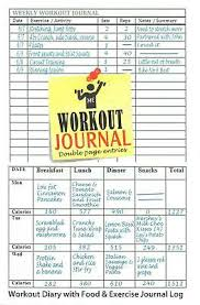 Food And Exercise Diary Workout Journal Workout Diary With Food Exercise Journal