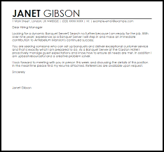 Cover Letter For A Server Cover Letter For Banquet Server Banquet Server Cover Letter Sample