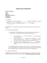 Sample Horse Lease Agreement Horse Lease Agreement Template Free Resume 1