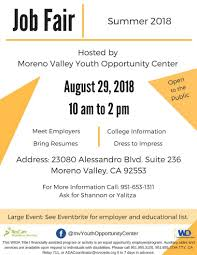Job Fair Hosted By Moreno Valley Youth Opportunity Center