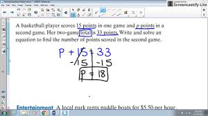 solving one step equation word problems