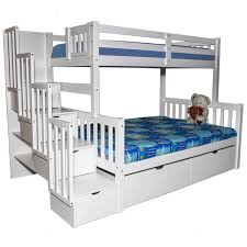 twin over full bunk bed with stairs. Flamingo Stairway Twin Over Full Bunk Bed White With Stairs