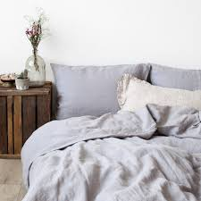light grey washed linen bed set