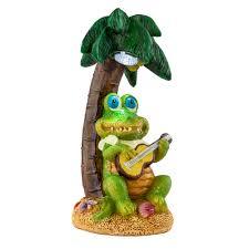 Lighted Alligator Lawn Ornament Led Solar Light Crocodile With Guitar Height 22 5 Cm