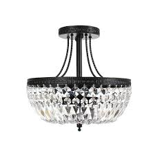 crystal 3 light antique bronze flush mount chandelier