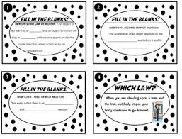 Laws Of Motion Examples Newtons Laws Of Motion Task Card Sort Real World Examples 24 Cards