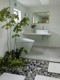 bathroom, Alluring Desaign Picture Ideas Inspiration With Fresh Bathroom  Plant On Chic Gravel And Floating