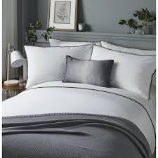 serene pom pom easy care duvet cover set double bed size white