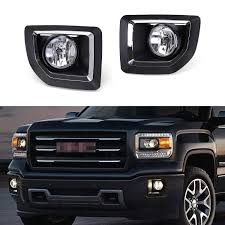 2015 Gmc Sierra 2500hd Fog Lights Ijdmtoy Complete Set Fog Lights Foglamp Kit With Halogen Bulbs Wiring On Off Switch And Black Garnish Bezel Covers Brackets For 2015 2018 Gmc Sierra