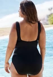 Aquabelle Criss Cross Maillot Plus Size One Piece Swimsuits