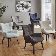 Image is loading Alida-Button-Tufted-Linen-Fabric-Accent-Chair-iNSPIRE-