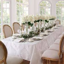 60 in w x 84 in l oval white elrene barcelona damask fabric tablecloth