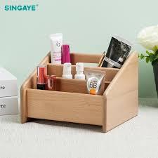 whole wooden makeup brush box makeup organizer cosmetic storage tool flashing pencil holder lipstick organizer holder case