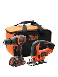 black and decker drill. black \u0026 decker 18v hammer drill, jigsaw, battery, charger storage bag | very.co.uk and drill
