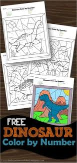 This page has a lot of free printable color by number for kids,parents and teachers. Free Dinosaur Color By Number Worksheets