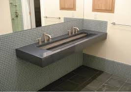 Commercial Bathroom Tile Eye Catching Grey Marble Commercial Trough Sink With Double