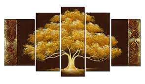 wieco art golden tree 5 panels modern flowers artwork hand painted abstract contemporary floral stretched and framed oil paintings on canvas wall art for  on hand painted canvas wall art uk with wieco art golden tree large 5 panel modern flowers 100 hand