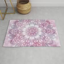 dreams mandala in pink grey purple and white rug