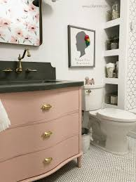 diy pink vanity and gold fixtures make this bathroom decor so cute love this bathroom